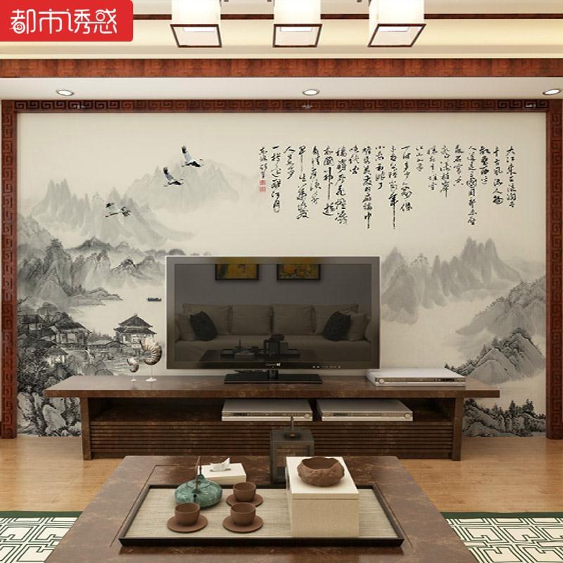 中式电视背景墙布工笔无缝电视大气荷花背景墙办公室玉兰电视墙大型图片