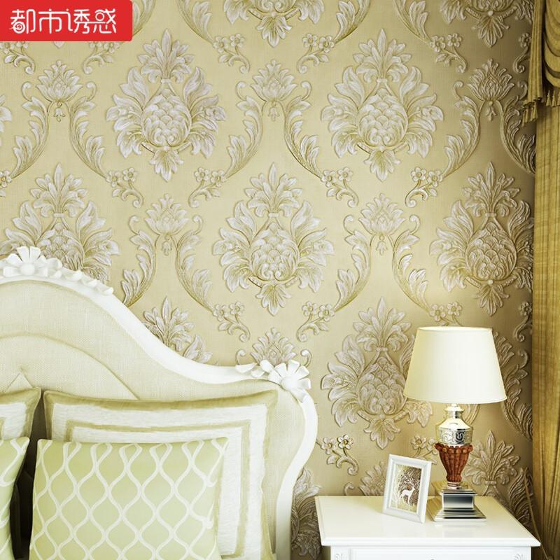 环保欧式4d立体浮雕无纺布墙纸卧室客厅电视背景墙壁纸72016蓝色仅
