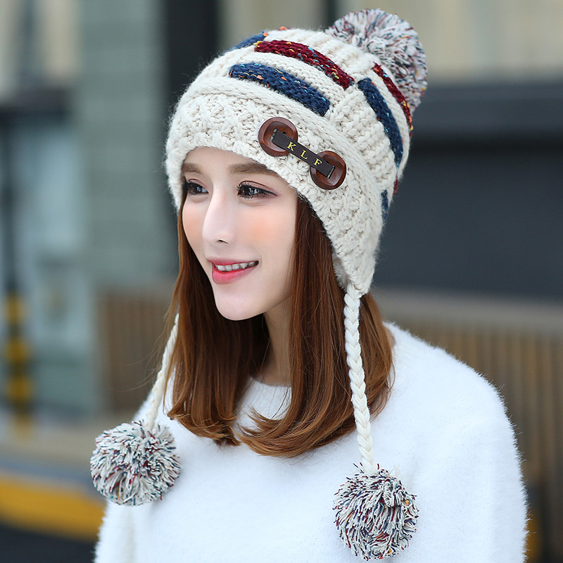 0090新款韩版潮帽子女冬甜美可爱女生毛线帽保暖加厚冬帽套头针织帽防