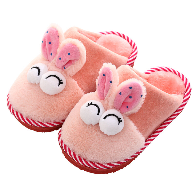 冬季卡通可爱儿童棉拖鞋女童男童小孩保暖棉鞋包跟厚底防滑棉拖鞋j