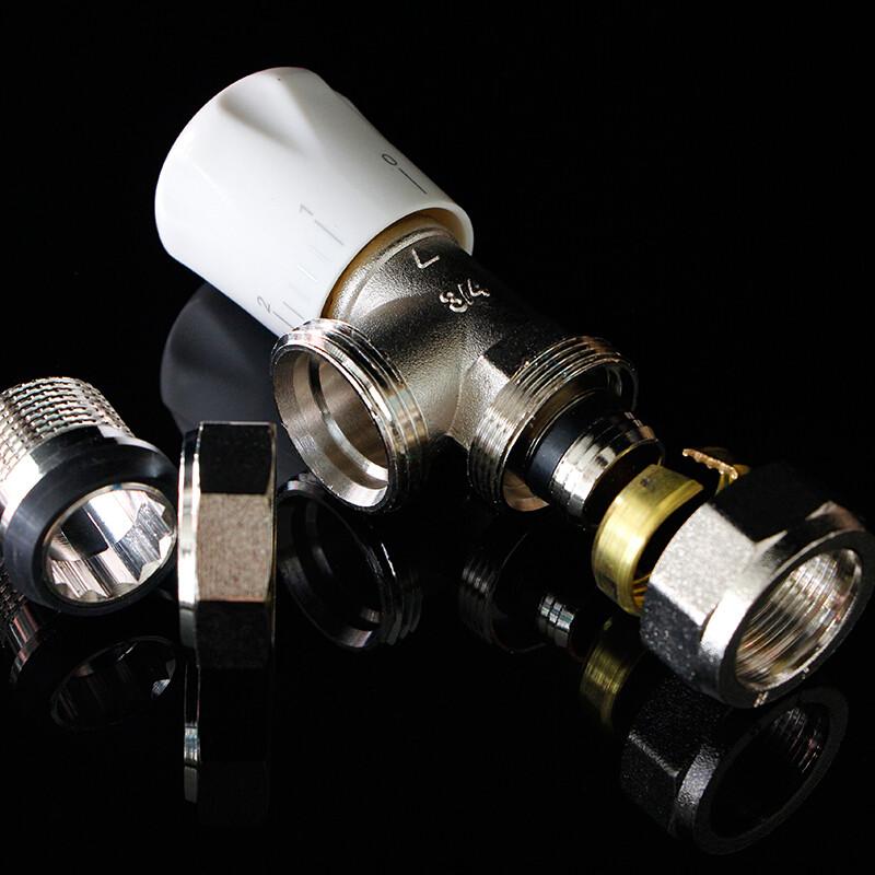 铜温控阀暖气片角阀ppr直阀pert/铝塑管6分1寸温控阀门图片