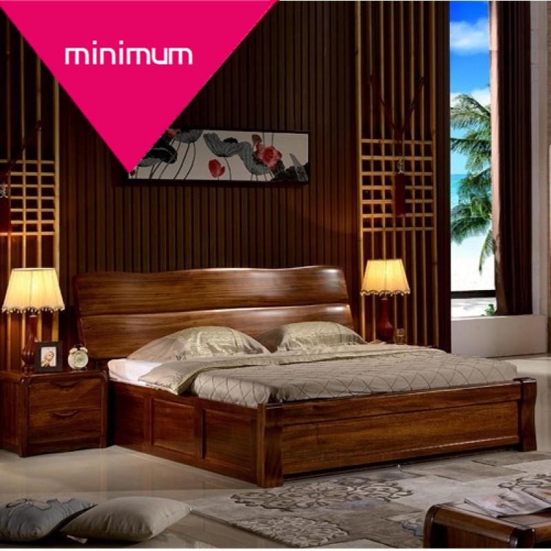 minimum实木床 新中式双人床黑胡桃木床硬板床2/2.2/2.图片