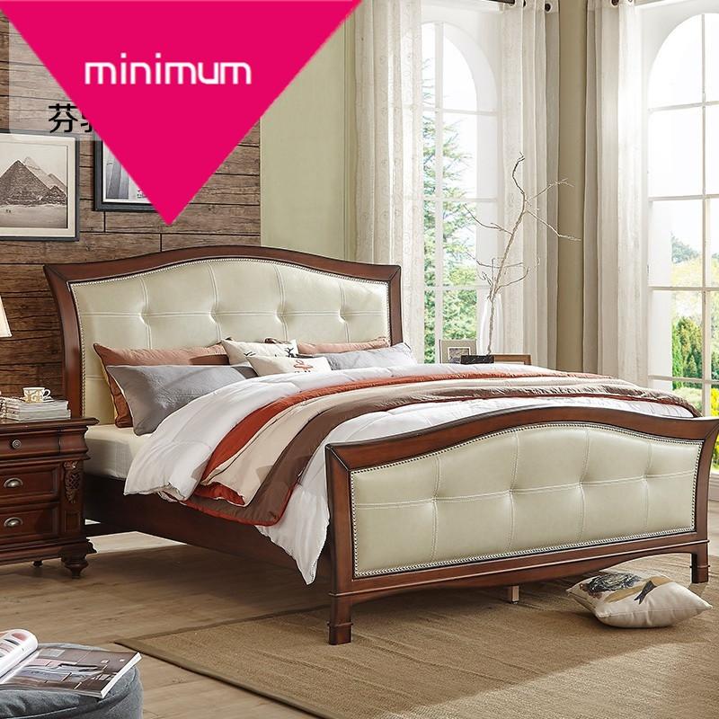 美式真皮床 新古典實木雙人床 臥室簡美婚床 真皮軟包