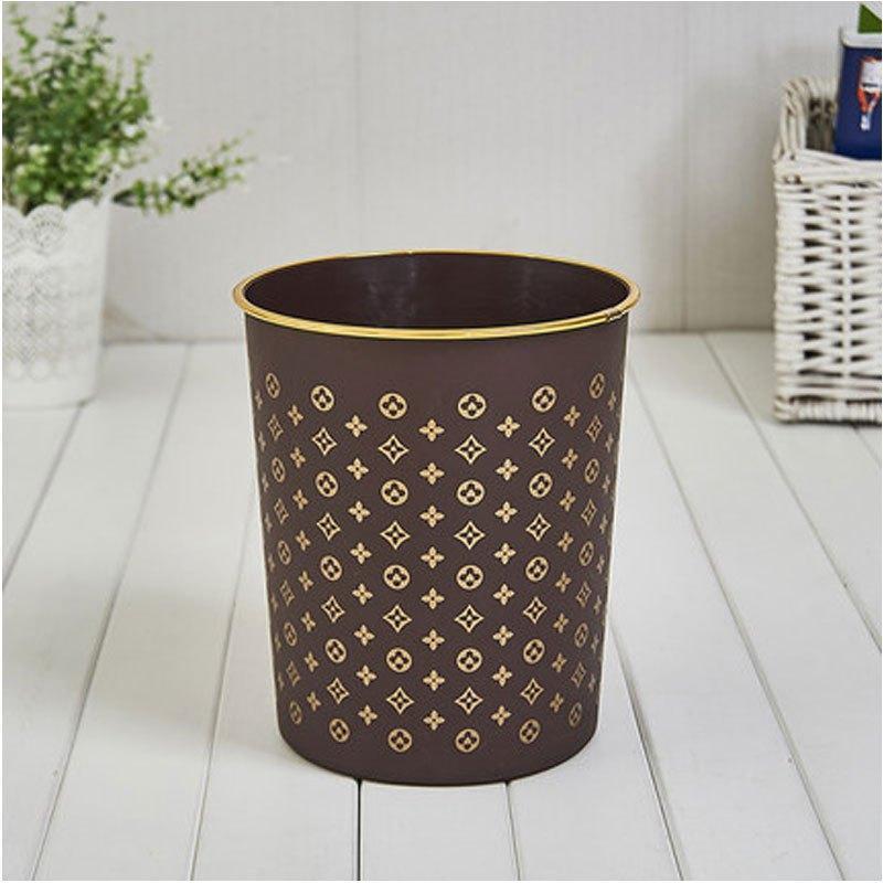 欧式无盖大号金边印花塑料黑色垃圾桶家用厨房办公室收纳桶圆形桶多色