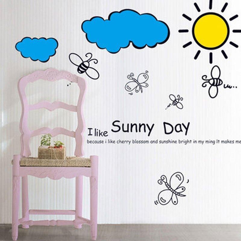 墙贴纸儿童房间卧室墙面装饰幼儿园教室布置玻璃卡通贴画阳光明媚日常