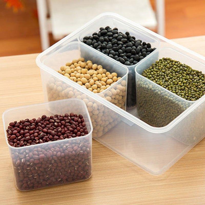 厨房分格保鲜盒五谷杂粮储藏盒干货分隔食物收纳盒大容量多功能生活日图片