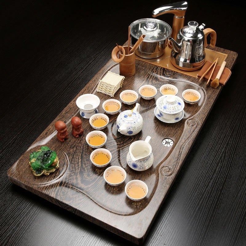 茶具功夫茶盘整套陶瓷茶壶套装茶杯中式全自动家用木制茶台实紫砂多色女雅痞装修图片