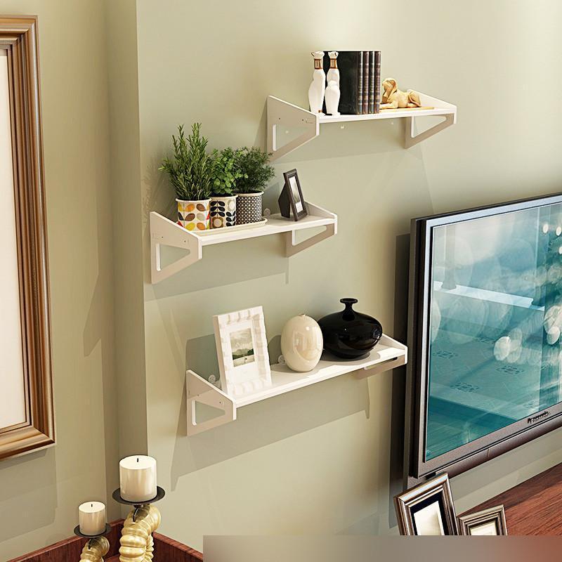 墙上置物架免打孔 卧室装饰简易花架壁挂客厅书架电视