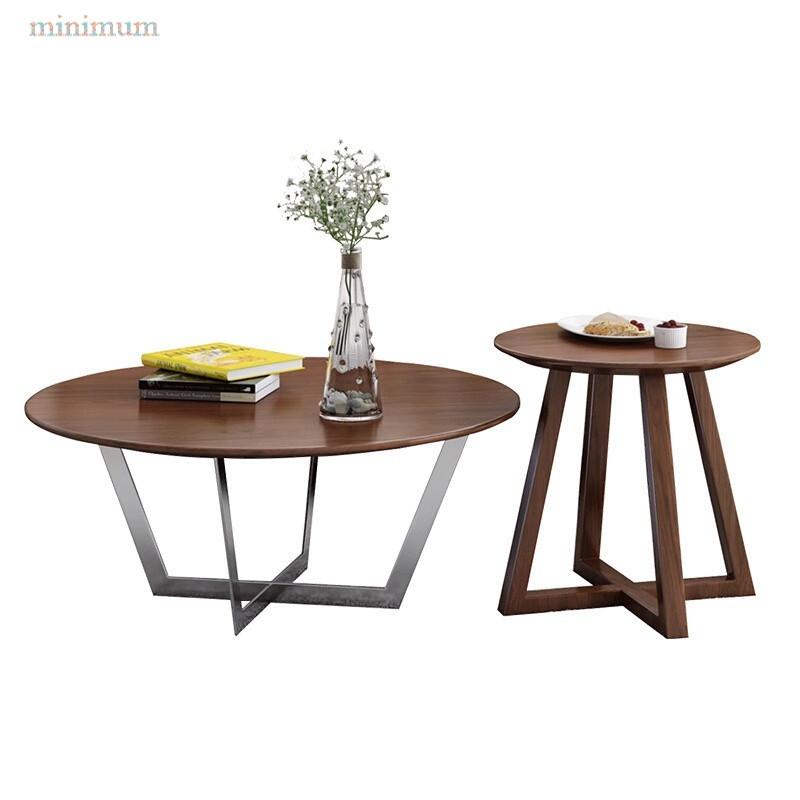 简约现代小户型茶几北欧圆形实木茶桌简约现代多功能小桌子图片