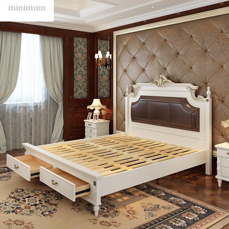 美式实木床白色卧室储物床欧式地中海抽屉公主床婚床高箱床双人床图片
