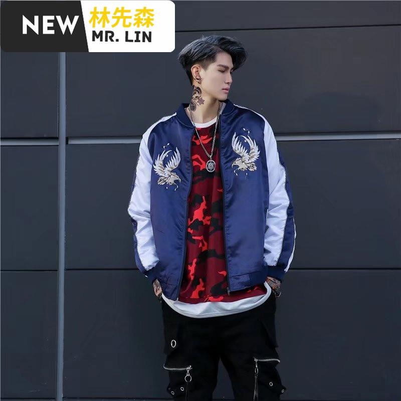 潮流男装中国风男士复古风夹克2017新款刺绣龙袍社会人精神小伙外套男