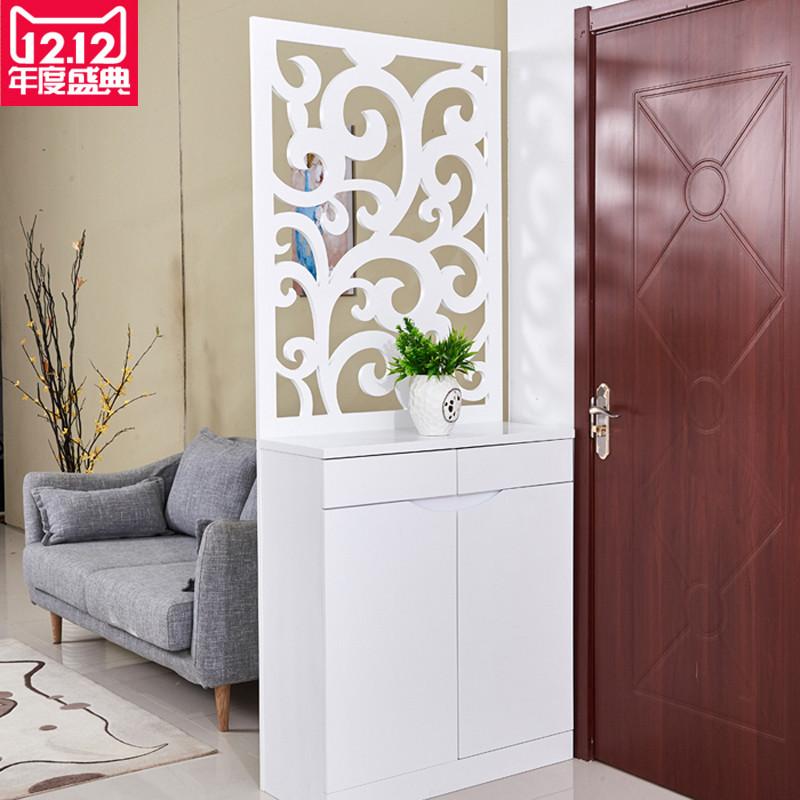 客厅屏风隔断柜镂空雕花玄关柜小户型进门鞋柜烤漆门厅柜简约现代