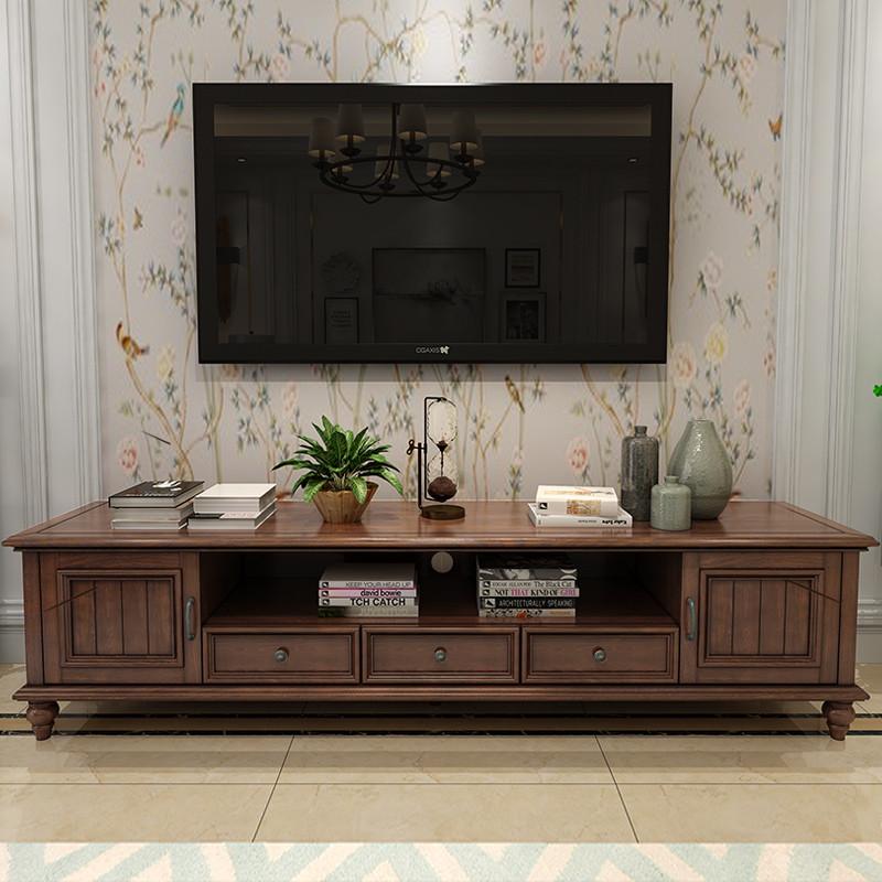 美式乡村实木电视柜做旧地柜简约小户型白蜡木茶几电视柜组合家具图片
