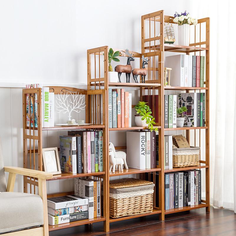 现代简易书架置物架桌上多层楠竹儿童书架学生书柜储物架图片