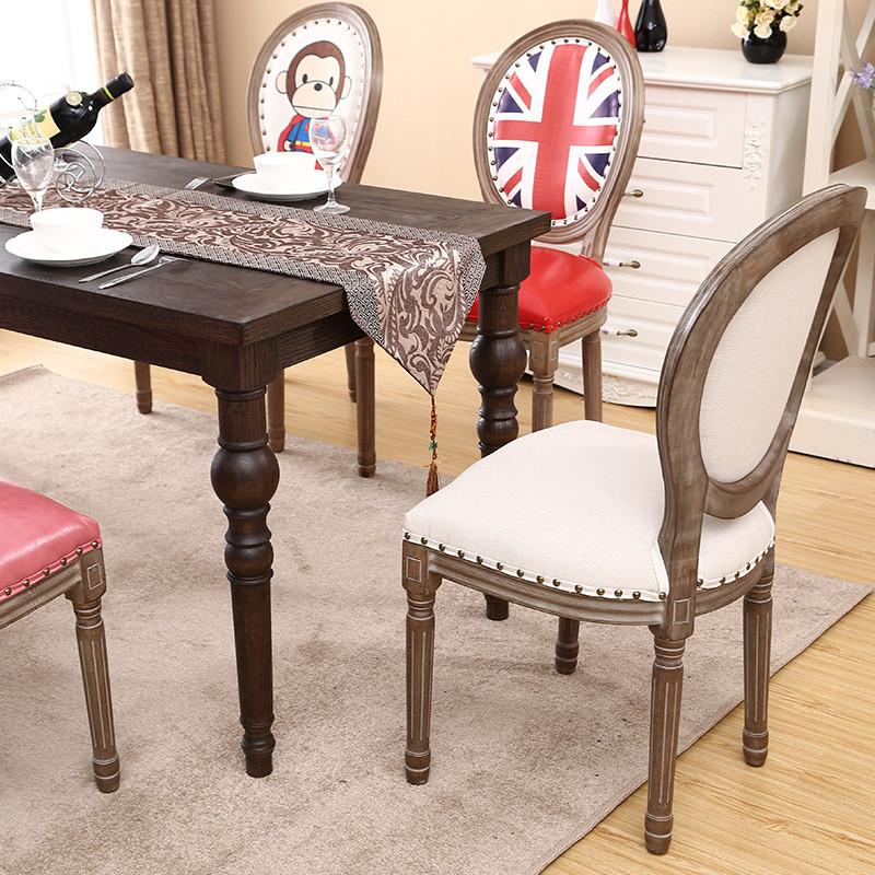 餐椅 欧式实木复古休闲餐椅美式简约咖啡厅酒店餐椅做旧扶手椅子