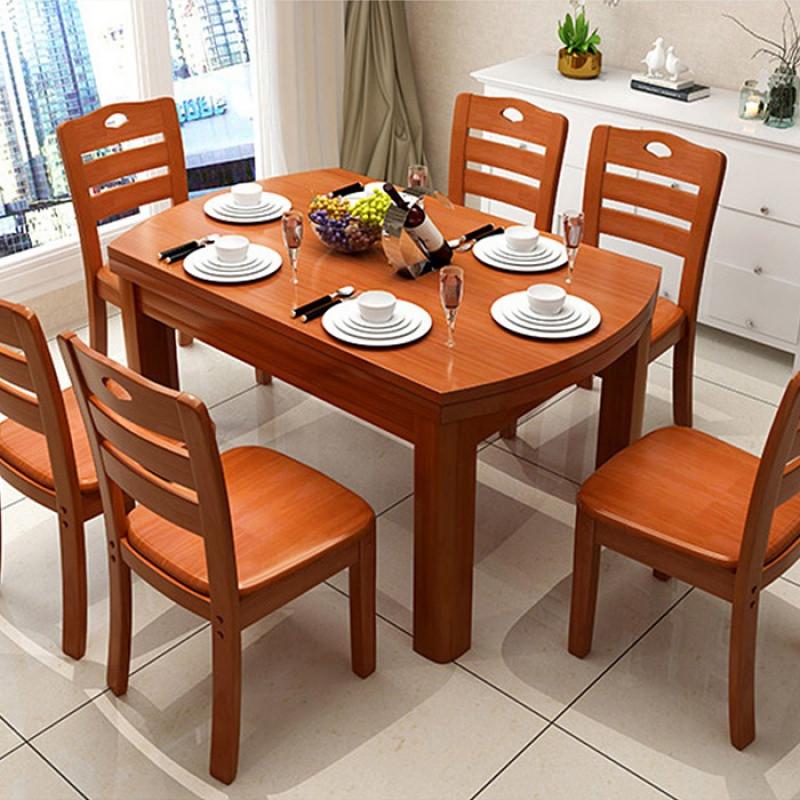 实木餐桌椅组合6人可伸缩圆形餐桌长方形折叠家用小户型变形饭桌