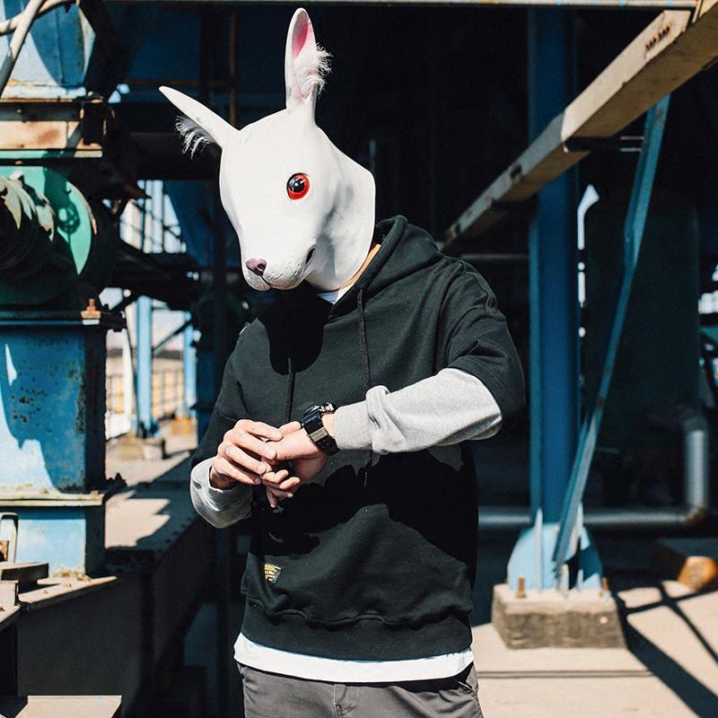 优惠促销兔子先生男生卫衣韩版潮流学生连帽卫衣男拼接套头帽衫假两件