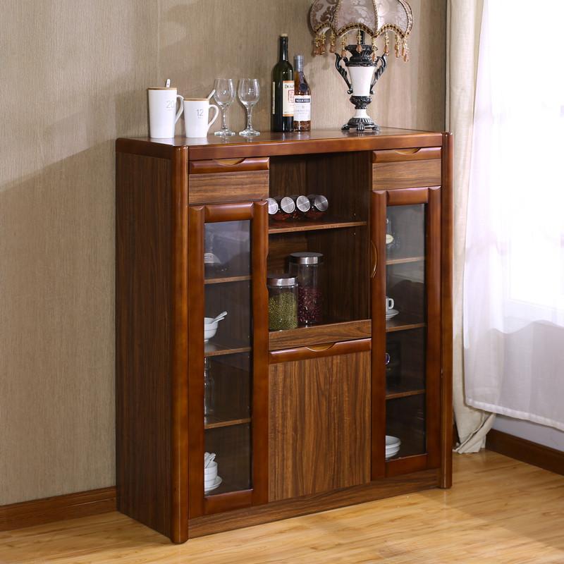 餐边柜实木边框高柜子茶柜储物柜客厅厨房储物柜中式小柜子茶水柜