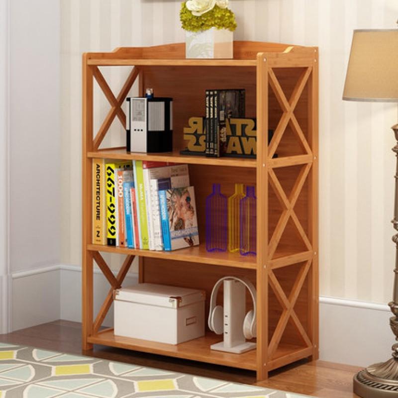 简易书架落地楠竹子置物架儿童小书柜绘本实木简约现代书橱办公室图片