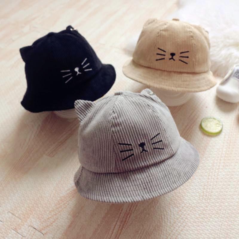 2017秋季新款儿童灯芯绒帽子2-5岁冬男女宝宝可爱猫咪
