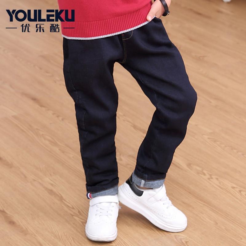 男童双层加绒加厚牛仔裤2017冬装新款小孩保暖长裤中大童装
