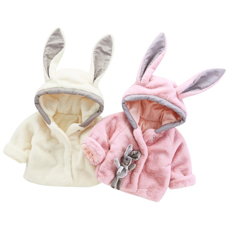 宝宝毛毛外套公主可爱兔子婴儿衣服秋冬外套棉衣加厚加绒1-2-3岁
