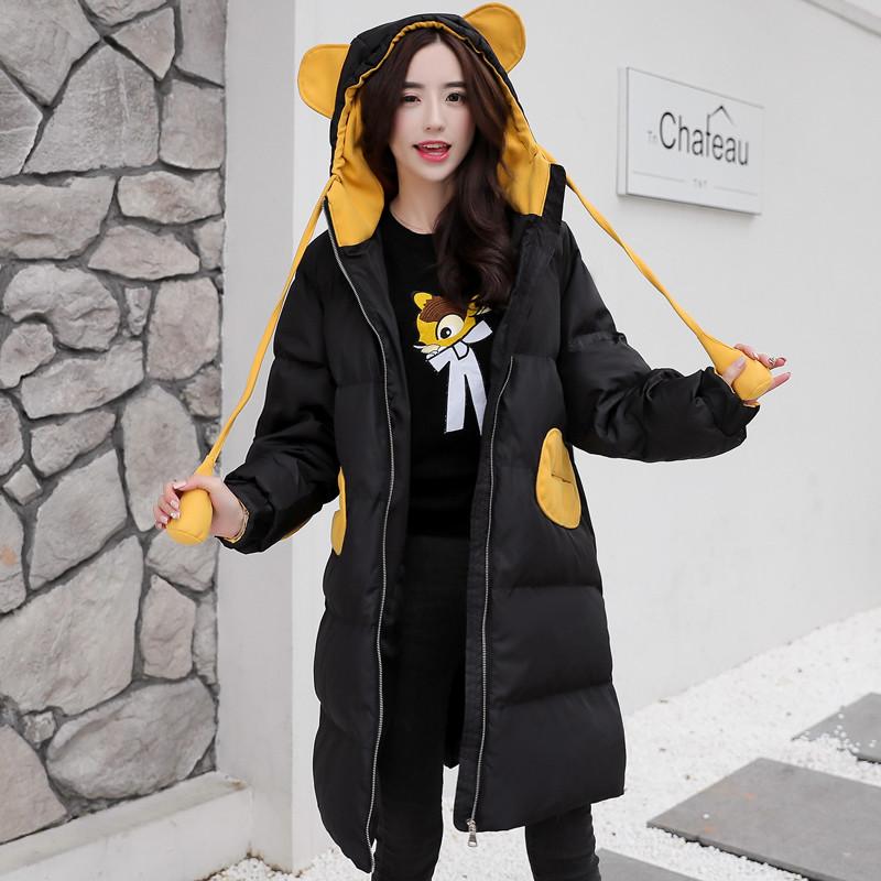 2017冬装新款中学生中长款羽绒棉服少女韩版可爱连帽棉衣面包外套图片