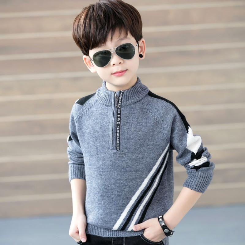 新款童装翻领男童毛衣儿童秋冬立领羊毛衫套头小中大童5-15岁男孩
