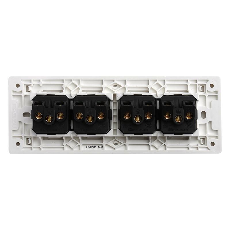 飞雕118型开关插座面板 多功能四位五孔墙壁插座开关