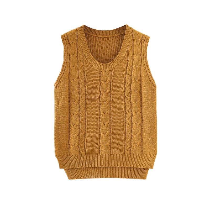 毛线针织背心女士马甲秋冬短款外套无袖线衫韩版套头圆领毛衣马夹
