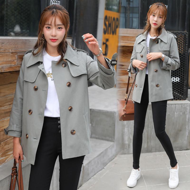 新款风衣女中款2018春季新款潮韩版学生卡其色春秋小个子短款外套女装