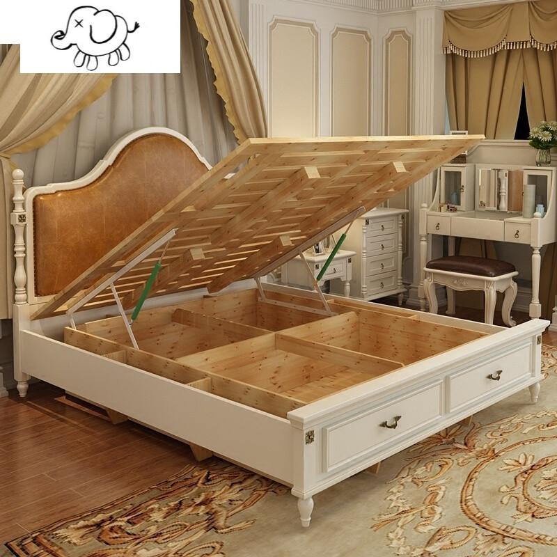牧马人实木床双人床卧室储物高箱抽屉欧式乡村风格地中海婚床白色美式图片