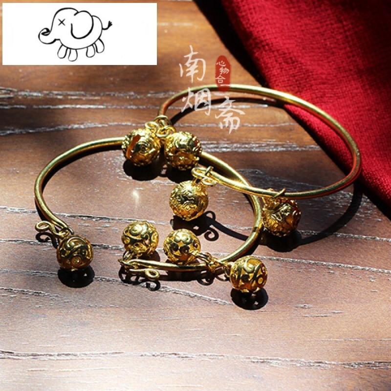 原创设计纯铜手镯民族风铃铛脚链古风手镯两件