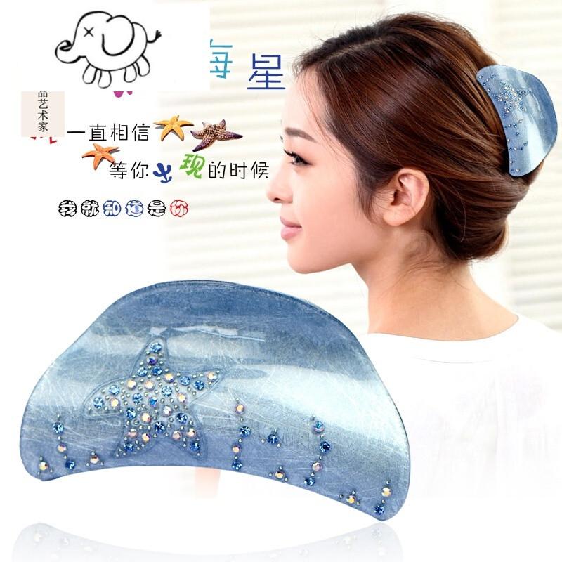韩国水钻海星头发夹子大抓夹大号水钻发抓卡子妈妈盘发头饰品