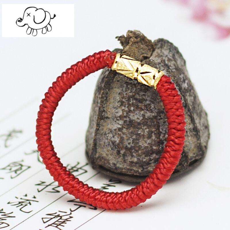 nvwu 手工编织节节高红绳子戒指纯黄金男女款指环情侣