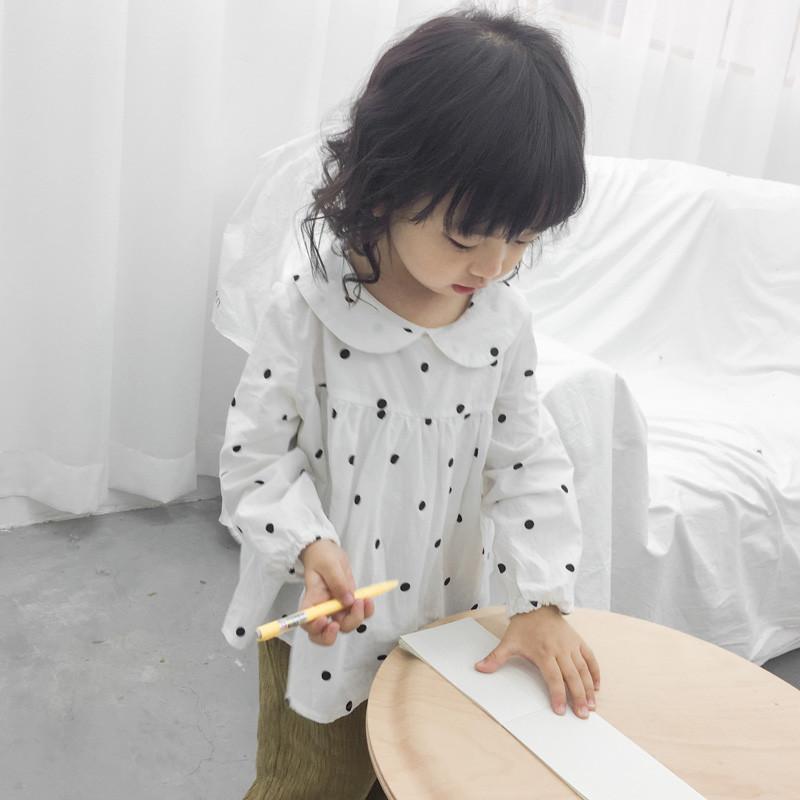 蜜瓜森林18春秋儿童甜美黑白点点娃娃领女童娃娃衫衬衫 048