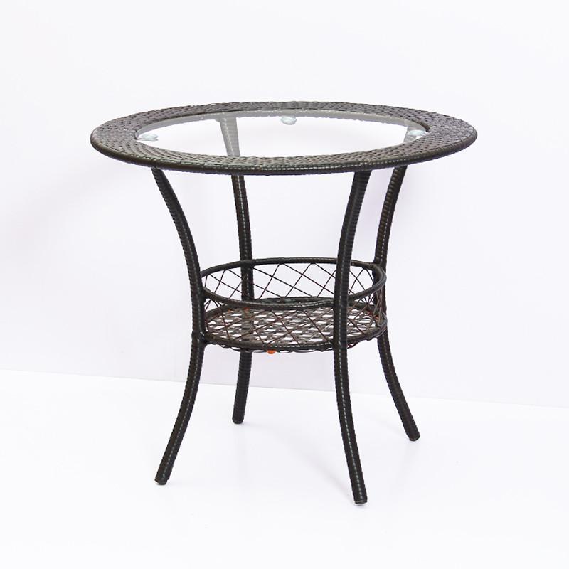 阳台客厅创意小茶几简约圆形茶桌编织铁艺钢化玻璃简约迷你小桌子
