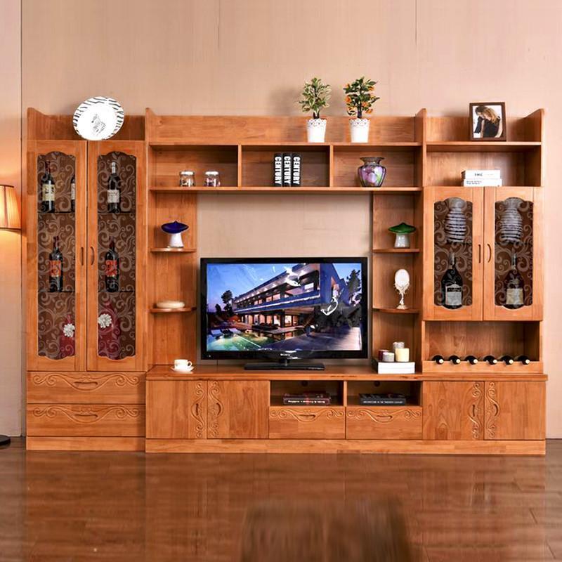中式实木电视柜组合柜电视墙柜组合柜子现代简约背景墙柜客厅家具