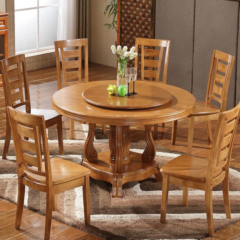 实木大圆桌餐桌酒店圆形饭桌家用橡木餐桌椅组合餐台餐厅简约时尚