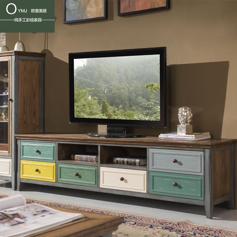 地中海电视柜茶几组合美式乡村复古做旧地柜2米白蜡木图片
