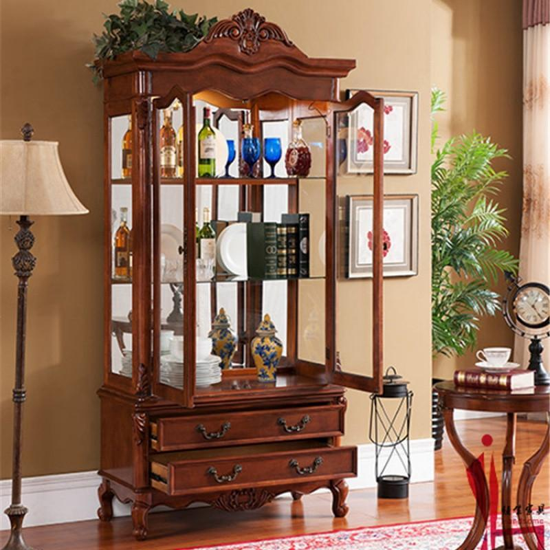 美式实木酒柜装饰品摆件柜欧式简约复古雕花多功能客厅玻璃展示柜