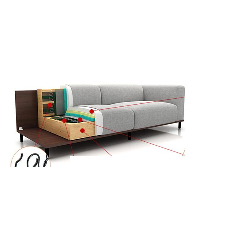 布艺沙发小户型三人组合简约现代家具日式可拆洗客厅沙发浅板直位 无
