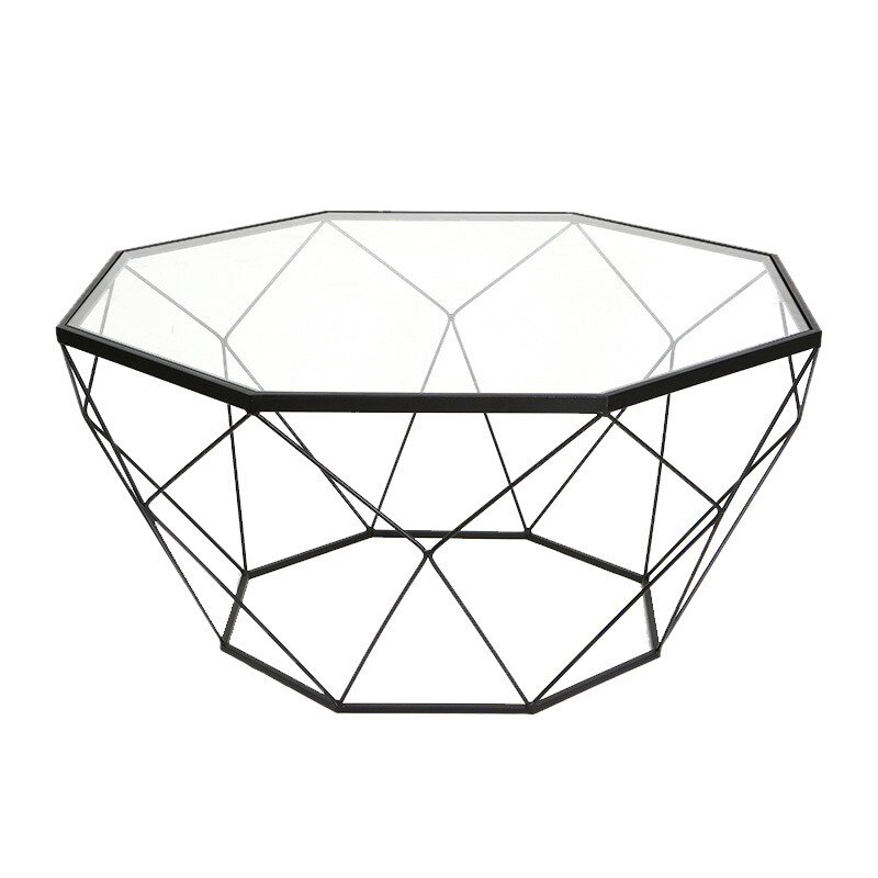 北欧家具创意小户型客厅铁艺钢化玻璃茶几圆形透明桌子现代简约金色90