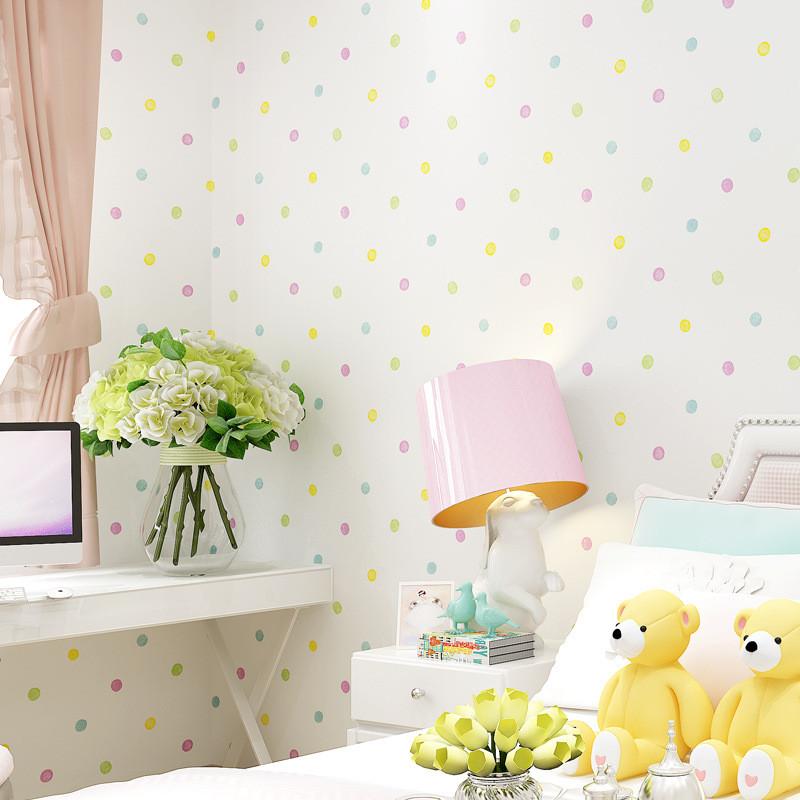 简约儿童房无纺布壁纸 温馨卡通彩色小圆点男孩女孩卧室背景墙纸