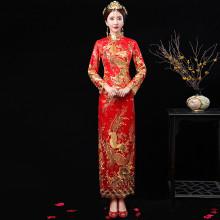 红色旗袍_秀禾服2018新款中式婚纱礼服新娘红色敬酒服改良旗袍修身显瘦嫁衣