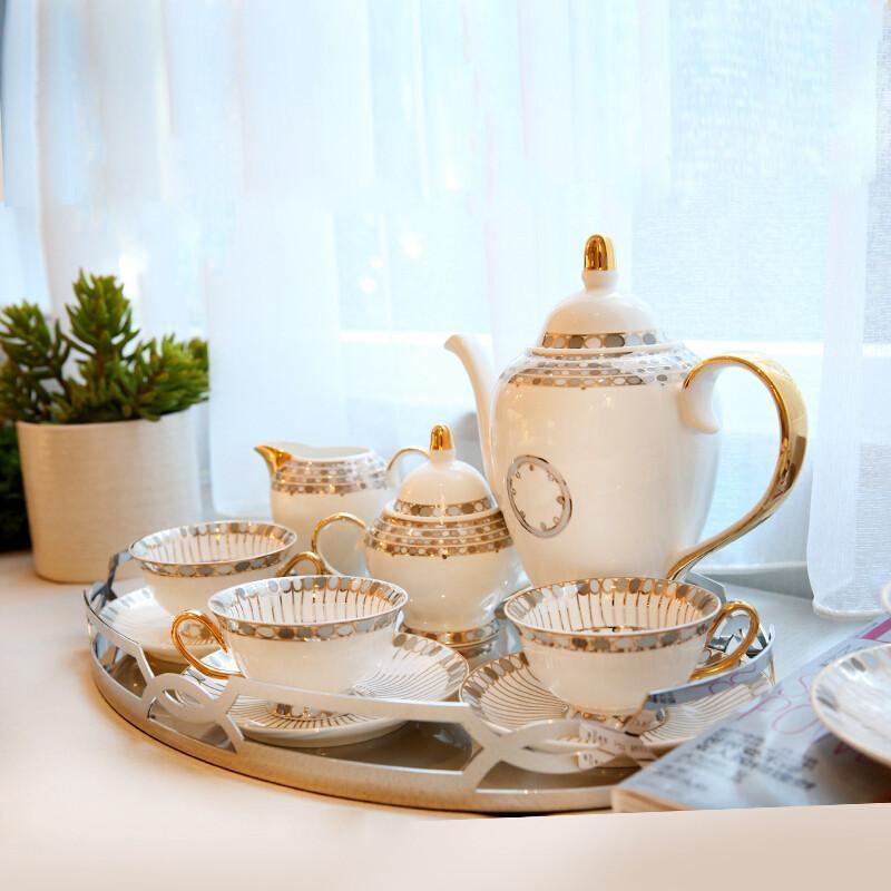 装饰品摆件陶瓷咖啡杯套装欧式茶具咖啡具下午茶杯具托盘托盘11件图片