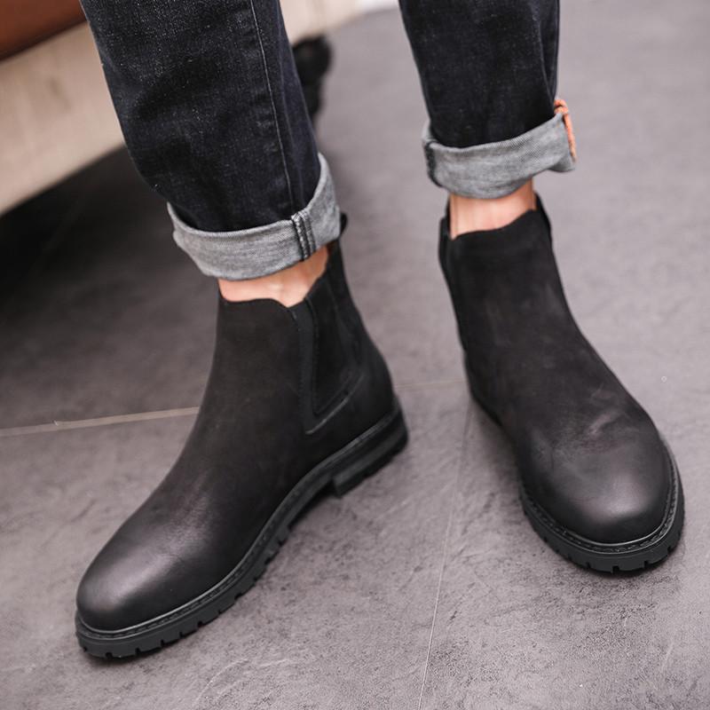 复古真皮男靴子男士皮靴潮工装靴高帮鞋马丁靴透气切尔西靴子男潮