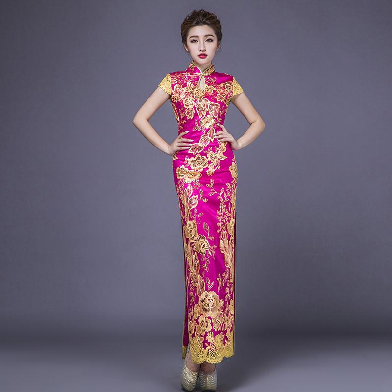 红色蕾丝复古年会礼仪旗袍长款开叉日常修身中式礼服表演出服装女图片