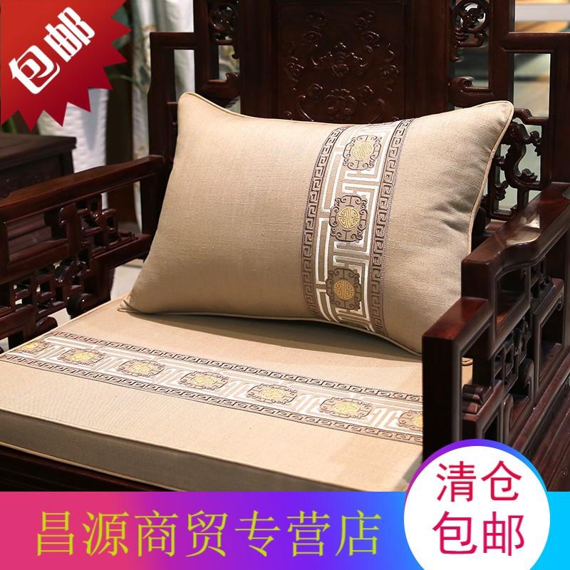 中式棉麻刺绣花抱枕红木沙发坐垫床头软包靠背套圈椅腰靠枕大含芯图片