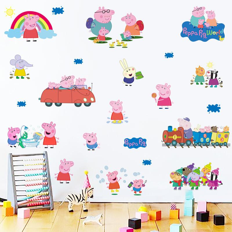 骁熊2017新品粉红猪小妹小猪佩奇佩佩猪可爱卡通墙贴纸儿童房贴画幼儿